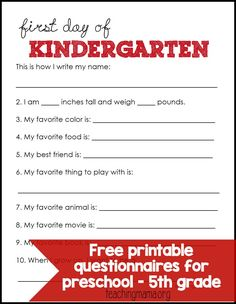 First Day of School Questionnaires - FREE printables for preschool through 5th grade!