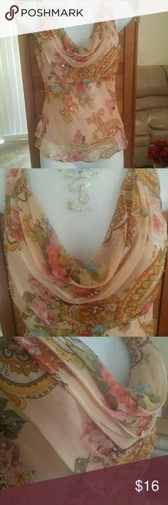 Beautiful dressy tank top Sequin and tiny beads trimming the paisley prints,zips on side,flattering collar ICe Tops Tank Tops
