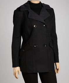 Take a look at this Black & Charcoal Gray Wool-Blend Peacoat - Plus by Braetan on #zulily today!