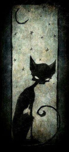 Halloween, All Hallows Eve, Black Cat Halloween Cat, Vintage Halloween, Happy Halloween, Halloween Painting, Halloween Signs, Photo D Art, Grim Reaper, Crazy Cats, Cat Art
