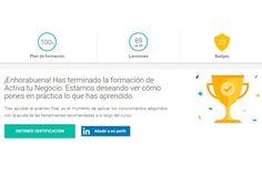 Certificación Google Activa tu Negocio. Fundamentos del Marketing digital Marketing Digital, Online Marketing, Software, Chart, Google, Business