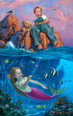 Catch Of The Day * Mermaid Myth Mythical Mystical Legend Mermaids Siren Fantasy Ocean Sea Enchantment Sirens Meerjungfrau sirène sirena Русалка pannu havfrue zeemeermin merenneito syrenka sereia sjöjungfrun sellő Fantasy Mermaids, Mermaids And Mermen, Fantasy Kunst, Fantasy Art, Desenhos Halloween, Mermaid Pictures, Mermaid Tale, Merfolk, Arte Pop
