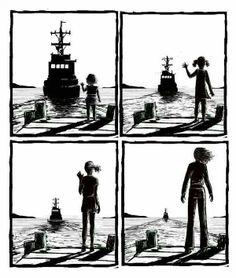 Peyton from one tree hill drawing art ship boat , sea ocean goodbye