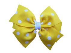 Yellow polka dot hair bow on Etsy, $3.75