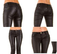 Hüfthose Lederimitat Röhre Kunstlederhose Lederoptik Röhrenhose Jeans HOSE34-44