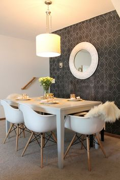 Dining Room...wallpapered wall adds drama