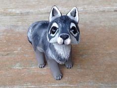 Wolf: Handmade miniature polymer clay animal by AnimalitoClay