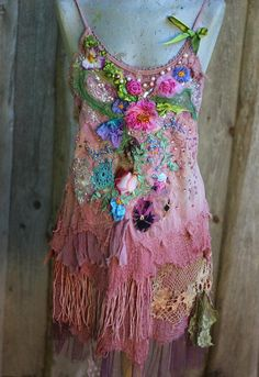 Summer blooms tunic, M/L, boho top, wearable art, shabby chic, whimsy blouse, vintage reworked