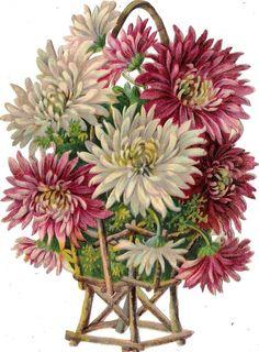 Oblaten Glanzbild scrap die cut chromo Blumen Korb 16,5 cm flower basket fleur