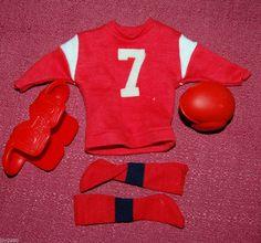 Vintage KEN OUTFIT TOUCH DOWN  #799 FOOTBALL  DOLL BARBIE UNIFORM  SOCKS HELMET #Barbie     $25.99   My sisters had this.
