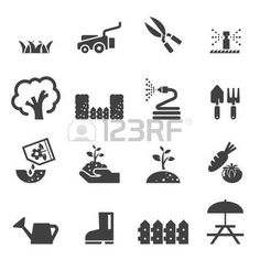 riding lawn mower: lawn icon set Illustration