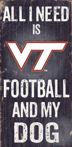 Virginia Tech Hokies Wood Sign - Football and Dog 6x12 (backorder)