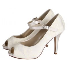 Nina Lace Platform Peep Toe Shoes - This sexy and pretty concealed platform is covered in our beautiful ivory lace and finished with a satin strap and crystal buckle.   Did you know you can have these shoes hand coloured to any shade? Click on the Colour Studio tab for more information.  £85.00
