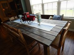 Farm table we built from old deck boards!