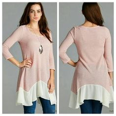 HP The Kendall Tunic Size S M No Beautiful sweater with a asymmetrical  bottom  in a dusty pink shade  Perfect for the season  Material is polyester,  spandex,  rayon  Sizes available S M L  Please indicate your size   PRICE FIRM UNLESS BUNDLED  Follow me on Facebook Sweet-bb Boutique  Tops Tunics