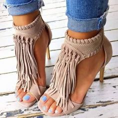 Shoespie Solid Color Tassel Stiletto Sandals
