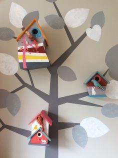 nichoir peinture peint peints décoration déco chambre enfant bébé sweetie cousette oiseau oiseaux tissu tissus