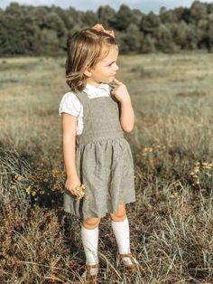 Pinafore Dress Linen Pinafore Dress Linen Girl Dress Linen Pinafore Girls Dress Gray Neutral Li - June 01 2019 at Little Girl Outfits, Little Girl Fashion, Baby Outfits, Toddler Fashion, Fashion Kids, Toddler Outfits, Girl Toddler Clothes, Fashion Games, Latest Fashion