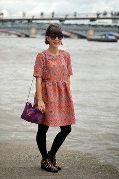"Borough Market, along the Thames. Mohekann ""Bakelite"" bag and Asos dress - London"