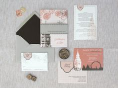 Pink and Gray Floral London Skyline Wedding Invitations | Oh So Beautiful Paper - similar, but with Barcelona.