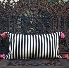 striped pillow with tassles Contemporary Pillows, Bed Pillows, Cushions, Pillow Room, Black And White Pillows, Black White, Interiores Design, Decoration, Decorative Pillows