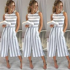 ab3f8c262420 Fashion Style Loose Romper Women Jumpsuits Casual Striped Summer Playsuit  Sexy Sleeveless Overalls Streetwear Suspender Trousers