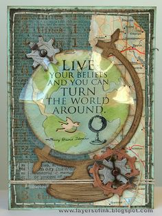 "#657832 Sizzix ""Tim Holtz Alterations"" (Bigz Die) Collection ""Vintage Globe"" #3/4 card sample  (Site: general info + supplies)"