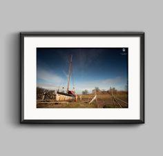Moored #Lancashire Skipool Creek Landscape photo — #fineart #print #wallart #homedecor #boats #sailing #nautical