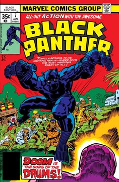 The cover to Black Panther # 7 (January 1976) by Jack Kirby and Ernie Chan.