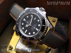 Rolex Deep Sea 116660 on 22mm 1000D Cordura Nylon Military Grey Color Watch Strap, NG [CV2222IWNG018]