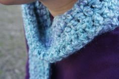 Crochet Thick Chunky Blue and Purple Pastel Fuzzy Soft Scarf - pinned by pin4etsy.com