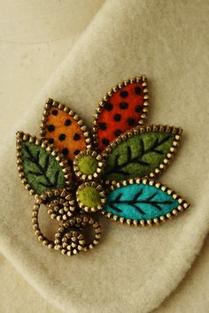 Leaf brooch kit   1 yard brass zipper and 24 ❤ by woollyfabulous, $9.00