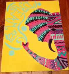 Tribal elephant canvas I made Canvas Crafts, Diy Canvas, Canvas Art, Canvas Ideas, Blank Canvas, Canvas Paintings, Pintura Tribal, Crafts To Do, Arts And Crafts