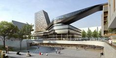 "Delugan MeisslAssociated Architects has been announced as winner of a competition to design a mixed-use and cultural complex in Munich. The project ""Hanns A As Architecture, Futuristic Architecture, Ultra Modern Homes, Win Competitions, Mix Use Building, Mixed Use Development, Cultural, City Buildings, Office Buildings"