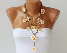 Boho necklace Bohemian jewelry Unique necklaces for by DIDIcrochet
