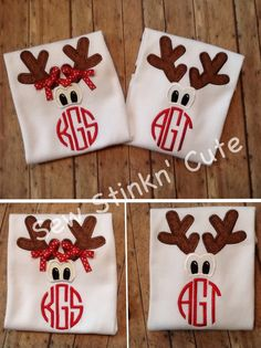 Personalized Monogrammed Appliquéd/Embroidered Reindeer Shirt (Using design by Original Stitches appliques.)