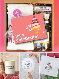 "Celebratory Gift Package Engagement Gift Basket for Couples - The YOU'RE ENGAGED is a fun package filled with fun goodies, such as, ""Totes Getting Married"" Tote Bag, ""Honeymoon Fund"" Savings Jar, ""I Said Yes"" Celebratory Engagement Balloon, ""Put a Ring On It"" Scented, Organic Olive Oil Glycerin Soap, ""Toss Me"" Confetti, and a Parcelly's Exclusive ""Let's Celebrate"" Greeting Card."