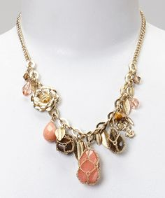 Look what I found on #zulily! Antique Gold & Coral Stone Pendant Charm Necklace by Fantasy World Jewelry #zulilyfinds