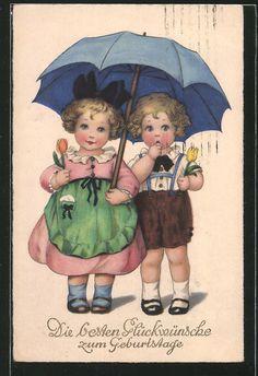 carte postale ancienne: CPA Illustrateur Lia Döring: des enfants stehen avec Tulpen in den Händen unter einem Regenschirm