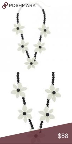 "kate spade ♠️Lovely Lillies - Cream Multi Necklace NWT - beautiful black and cream statement piece - goes well with many pairs of kate spade earrings - adjustable 3"" gold plated metal chain - FIRM Price kate spade Jewelry Necklaces"