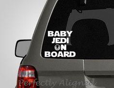 "Star Wars inspired, ""Baby Jedi On Board"" vinyl decal - Car decal - Family decal - Baby on Board"
