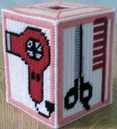 plastic canvas tissue box for hair salon Plastic Canvas Box Patterns, Plastic Canvas Tissue Boxes, Plastic Canvas Crafts, Disney Font Free, Plastic Mesh, Perler Patterns, Quilt Patterns, Sewing Patterns, Crochet Humor
