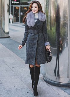 Shawl Collar Belted Long Coat, Styleonme