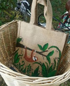 Check out this item in my Etsy shop https://www.etsy.com/uk/listing/523197656/hand-painted-sloth-jute-bag