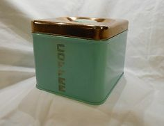 Mid century turquoise and copper coffee canister
