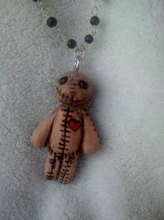 "voodoo doll ""burlap"" sculpey charm pendant necklace custom orders"