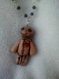 "voodoo doll ""burlap"" sculpey charm pendant necklace custom orders"