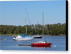 Boat Canvas Print featuring the photograph Red White And Blue by Cynthia Guinn