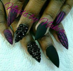 sick nail art! matte nails pointy nails black nails studded nails