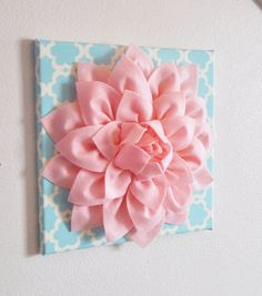 "Wall Flower -Light Pink Dahlia on Blue Tarika 12 x12"" Canvas Wall Art- Baby Nursery Wall Decor- on Etsy, $34.00"